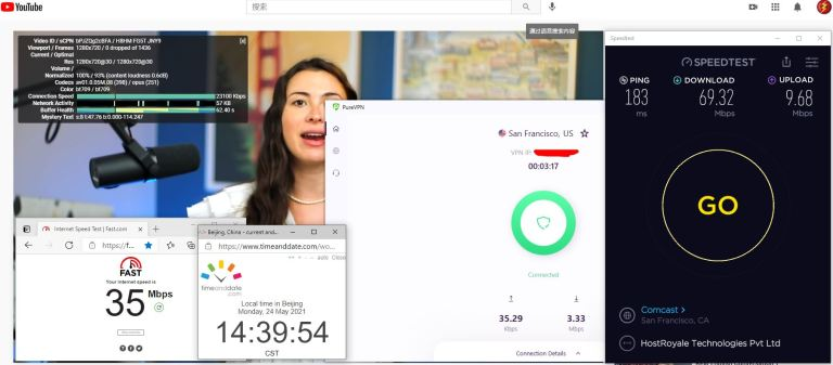 Windows10 PureVPN IKEv2协议 USA -San Francisco 服务器 中国VPN 翻墙 科学上网 10BEASTS Barry测试 - 20210524