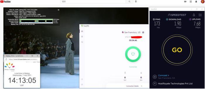 Windows10 PureVPN IKEv2协议 USA - San Francisco 服务器 中国VPN 翻墙 科学上网 Barry测试 10BEASTS - 20210707