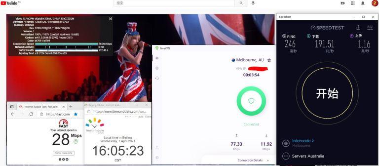 Windows10 PureVPN IKEv2 Australia - Melbourne 服务器 中国VPN 翻墙 科学上网 10BEASTS Barry测试 - 20210407