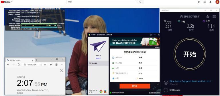 Windows10 PureVPN India 服务器 中国VPN 翻墙 科学上网 测试 - 20201118