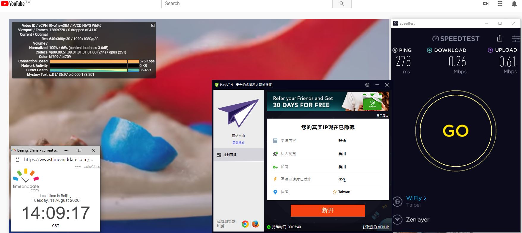 Windows10 PureVPN Taiwan 中国VPN 翻墙 科学上网 翻墙速度测试 - 20200811