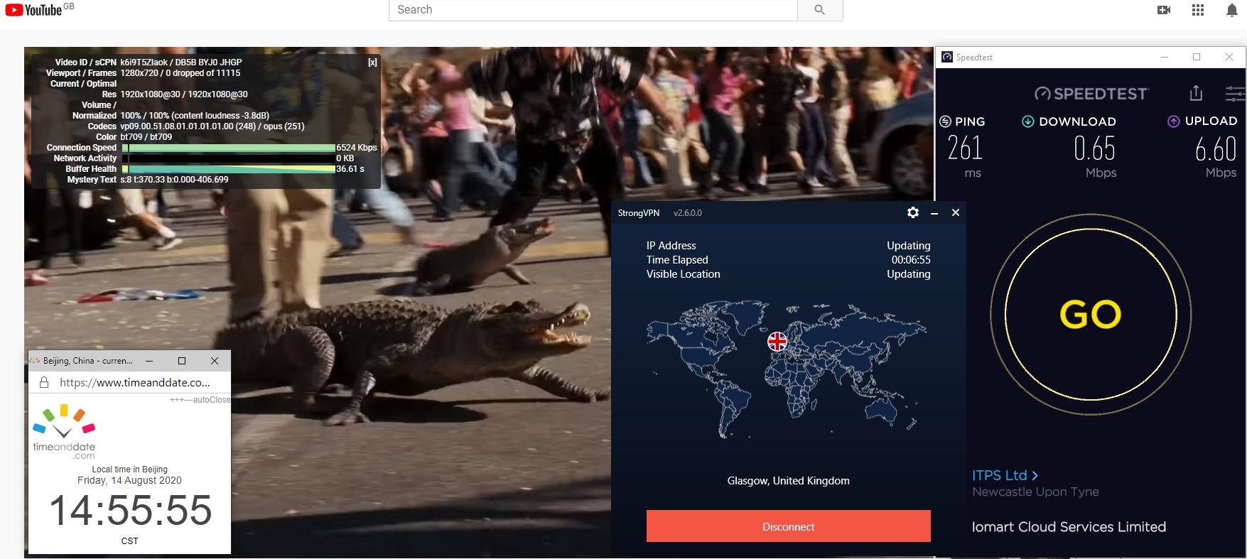 Windows10 StrongVPN IKEv2 UK- Glasgow 中国VPN 翻墙 科学上网 翻墙速度测试 - 20200814