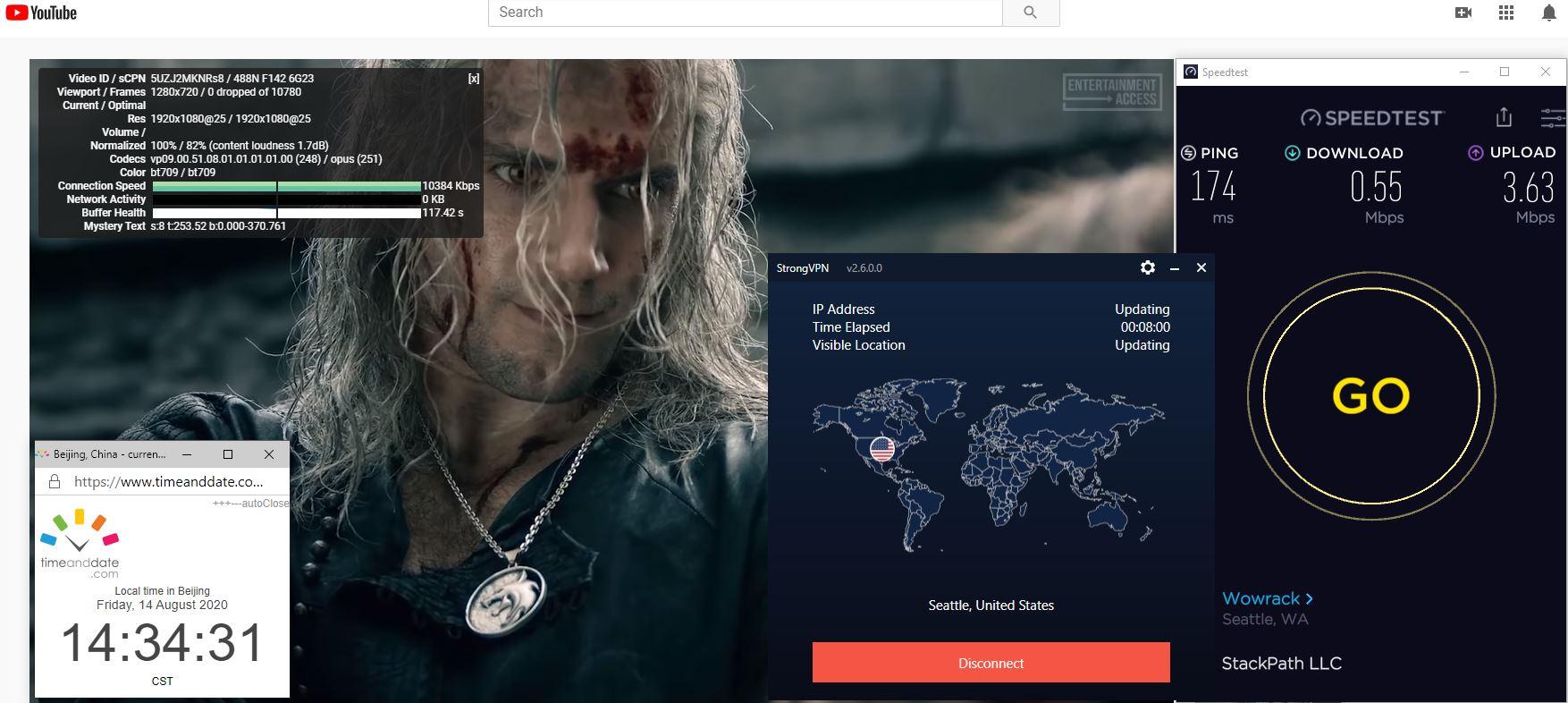 Windows10 StrongVPN IKEv2 USA - Seattle 中国VPN 翻墙 科学上网 翻墙速度测试 - 20200814