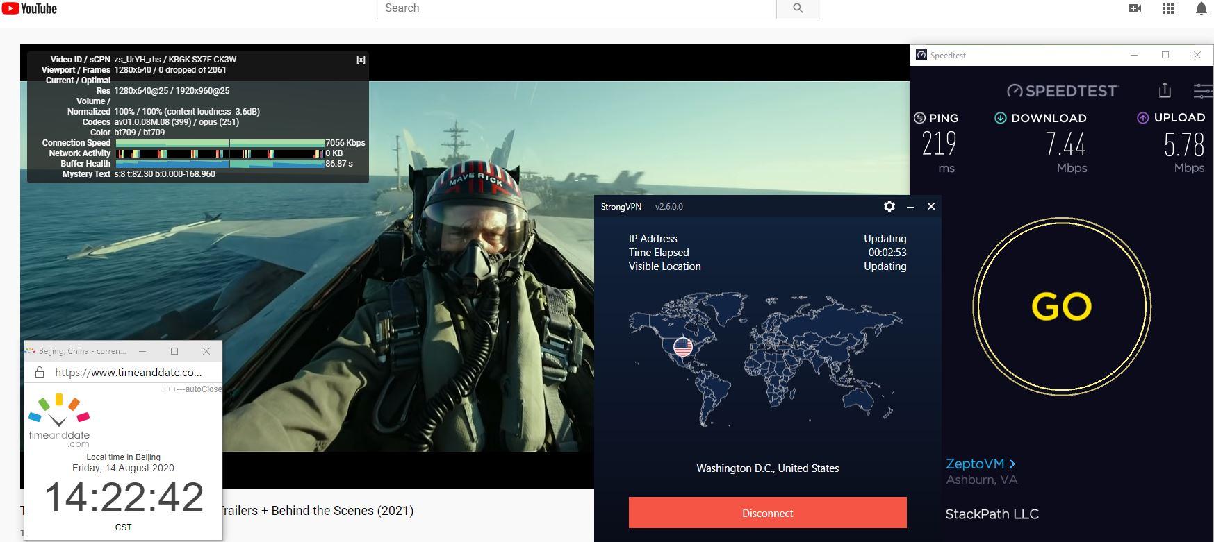 Windows10 StrongVPN IKEv2 USA - Washington DC 中国VPN 翻墙 科学上网 翻墙速度测试 - 20200814