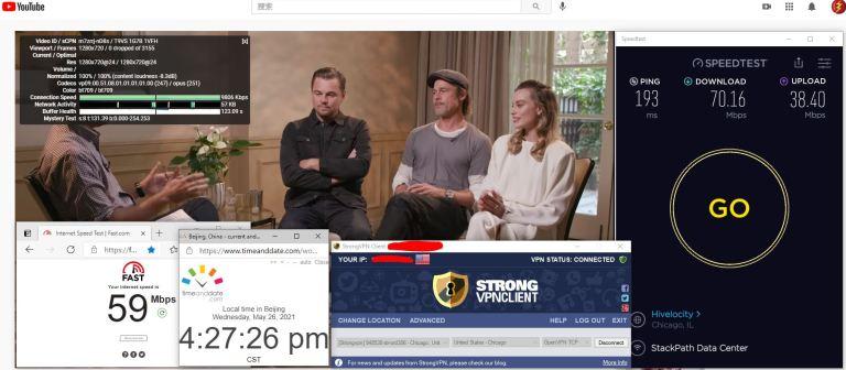 Windows10 StrongVPN TCP协议 USA - Chicago 306 服务器 中国VPN 翻墙 科学上网 10BEASTS Barry测试 - 20210526