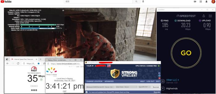 Windows10 StrongVPN TCP协议 USA - Denver 301 服务器 中国VPN 翻墙 科学上网 10BEASTS Barry测试 - 20210526