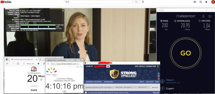 Windows10 StrongVPN TCP协议 USA - New Orleans 301 服务器 中国VPN 翻墙 科学上网 10BEASTS Barry测试 - 20210526