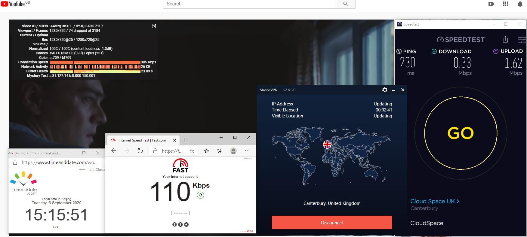 Windows10 StrongVPN UK - Canterbury 中国VPN 翻墙 科学上网 翻墙速度测试 - 20200908