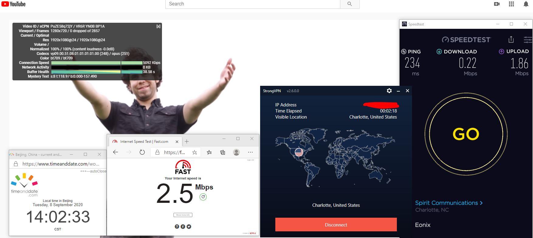 Windows10 StrongVPN USA - Charlotte 中国VPN 翻墙 科学上网 翻墙速度测试 - 20200908