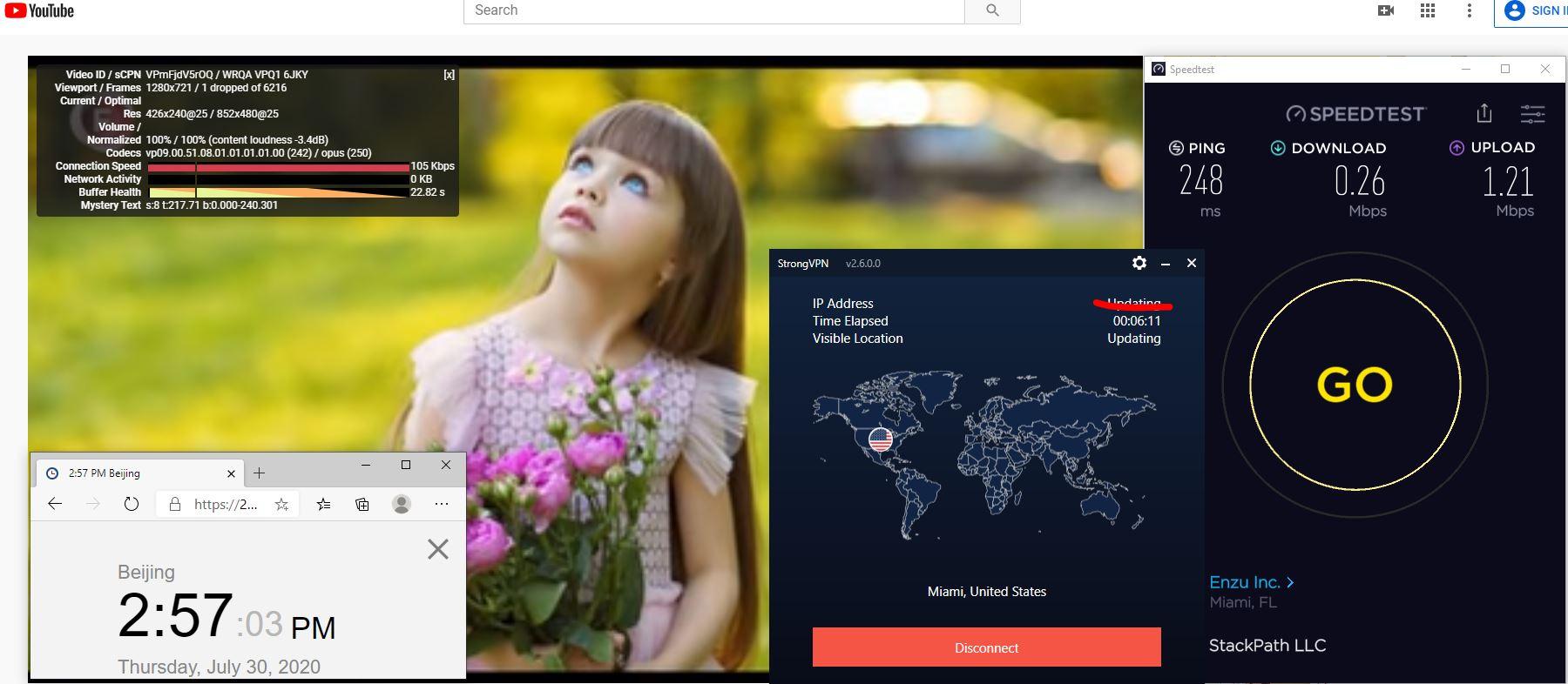 Windows10 StrongVPN USA - Miami 中国VPN 翻墙 科学上网 翻墙速度测试 - 20200730