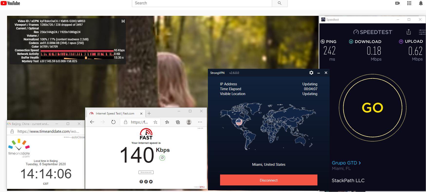 Windows10 StrongVPN USA - Miami 中国VPN 翻墙 科学上网 翻墙速度测试 - 20200908