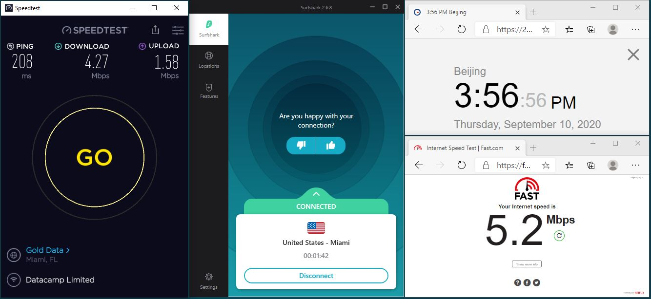 Windows10 SurfsharkVPN App USA - Miami 中国VPN 翻墙 科学上网 翻墙速度测试 - 20200910