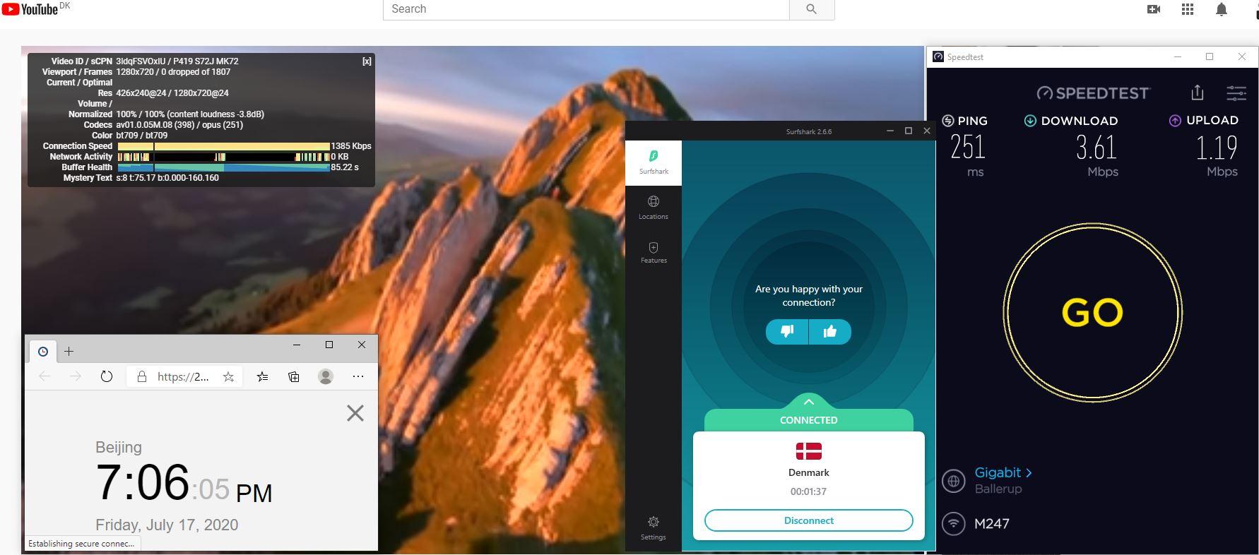 Windows10 SurfsharkVPN Denmark 中国VPN 翻墙 科学上网 测速-20200717