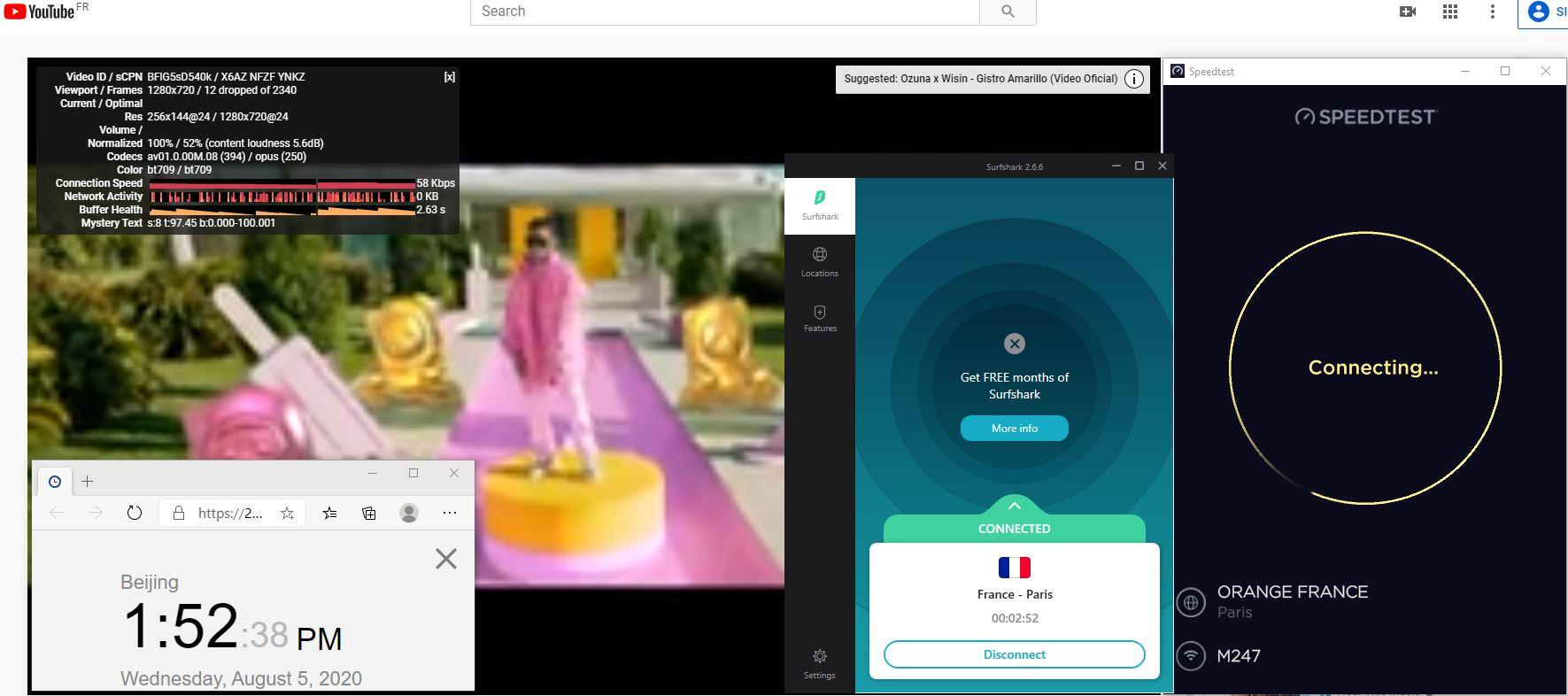 Windows10 SurfsharkVPN France - Paris 中国VPN 翻墙 科学上网 翻墙速度测试 - 20200805