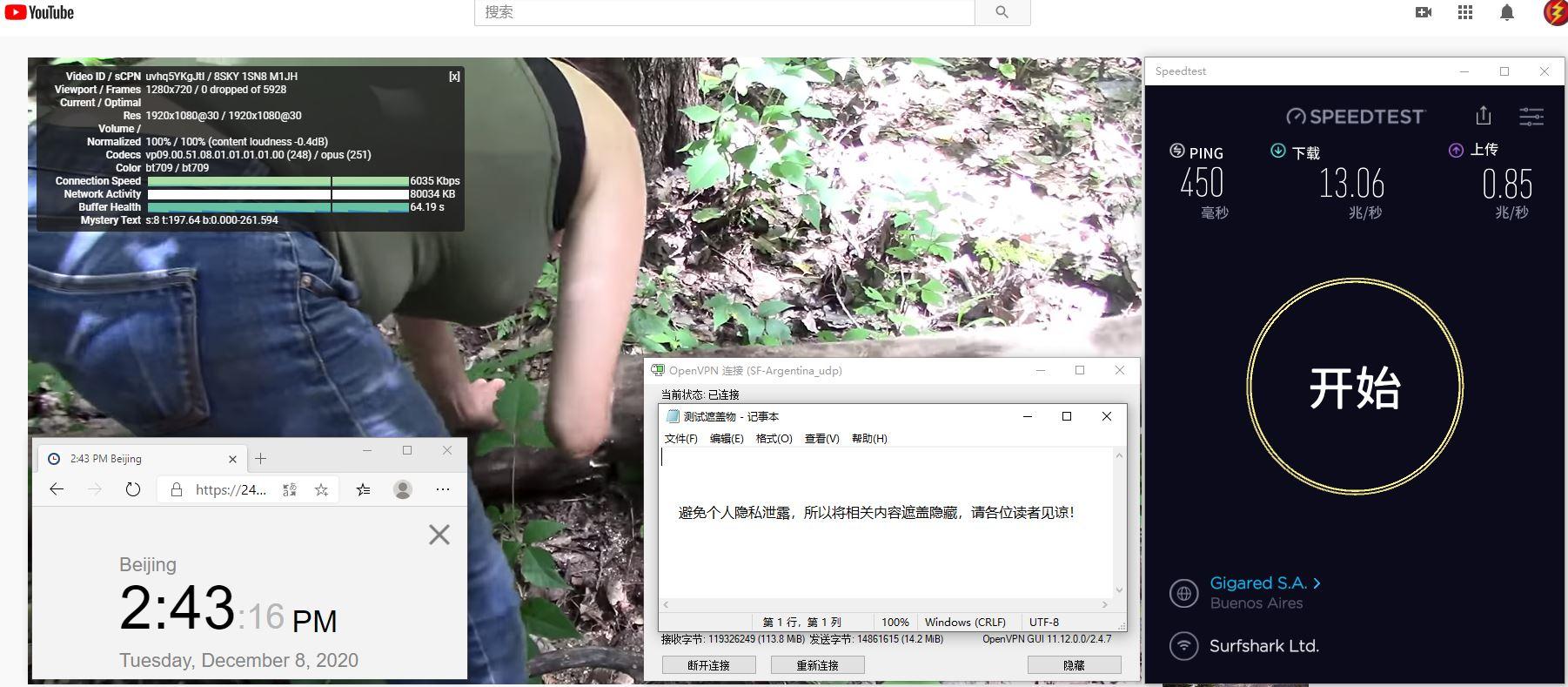 Windows10 SurfsharkVPN OpenVPN Gui 服务器 中国VPN 翻墙 科学上网 测试 - 20201208