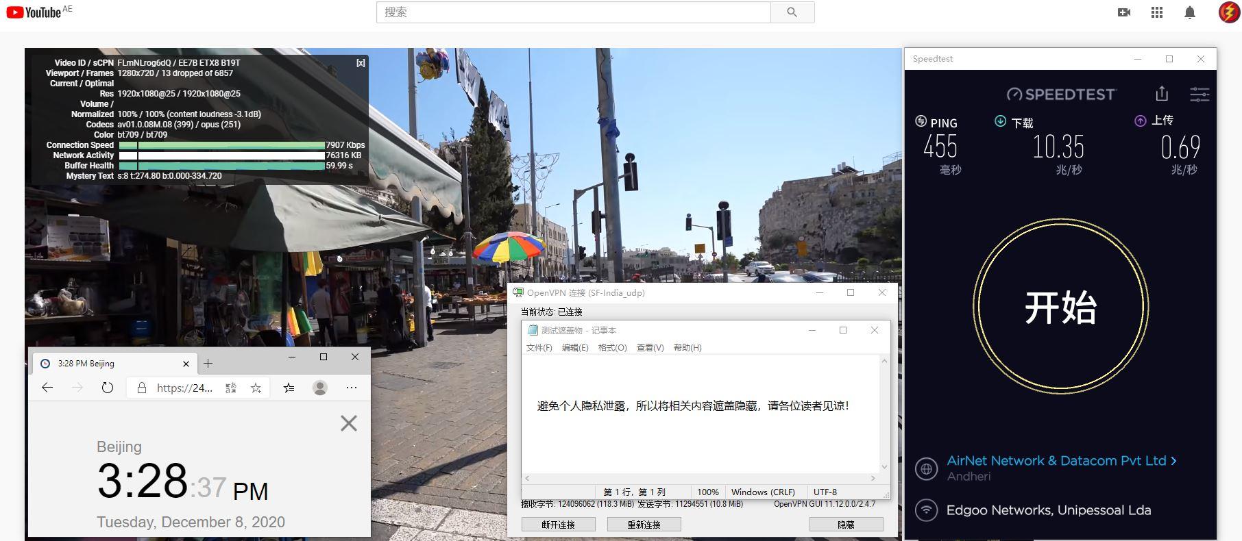 Windows10 SurfsharkVPN OpenVPN Gui India-2 服务器 中国VPN 翻墙 科学上网 测试 - 20201208