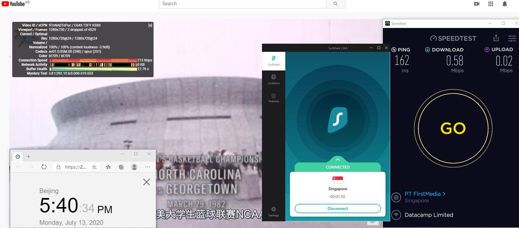 Windows10 SurfsharkVPN Singapore 中国VPN 翻墙 科学上网 测速-20200713