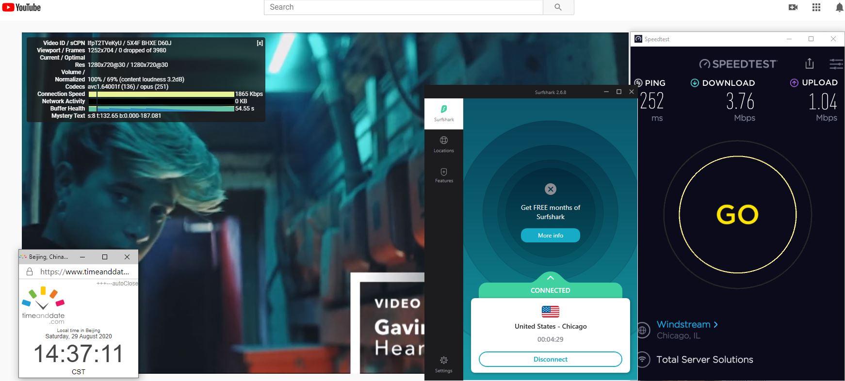 Windows10 SurfsharkVPN USA - Chicago 中国VPN 翻墙 科学上网 翻墙速度测试 - 20200829