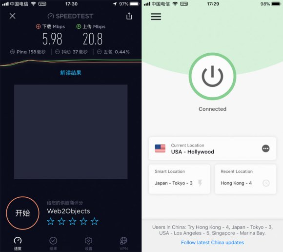 iPhone-ExpressVPN-USA-Hollywood-中国VPN手机翻墙-科学上网-Speedtest-20191204