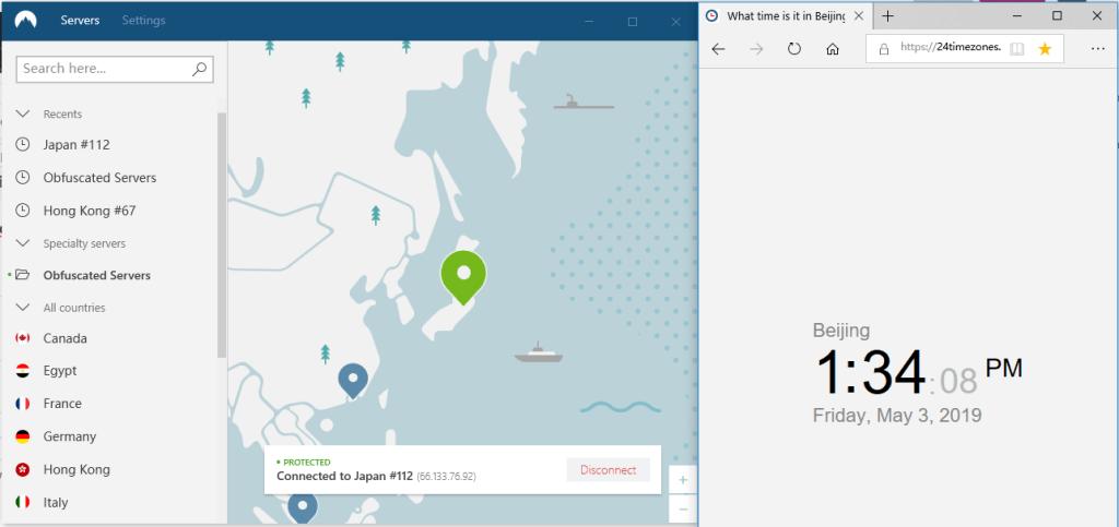 nordVPN windows 混淆服务器连接 日本112节点-20190503