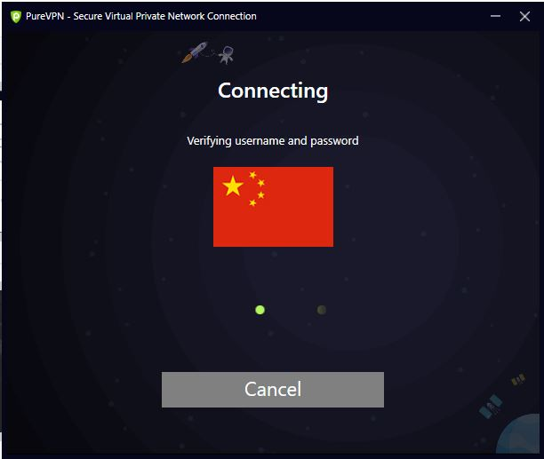 purevpn-VPN into china-Connected state