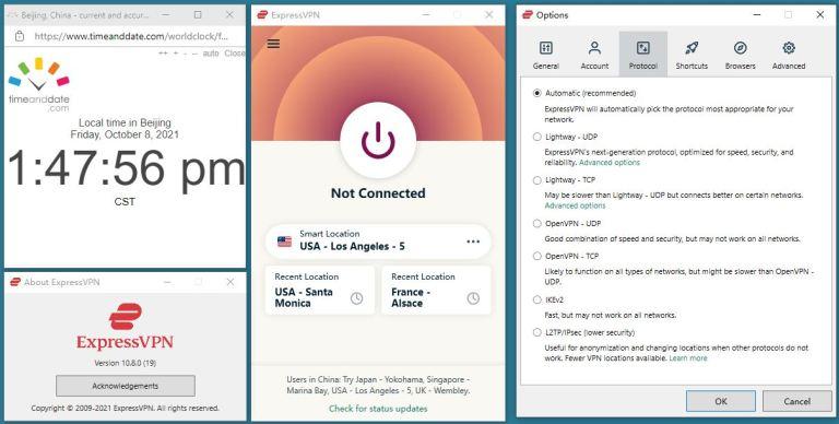 Windows10 Expressvpn Auto协议 中国VPN翻墙测试:版本号 11.8.0 (19)-20211008