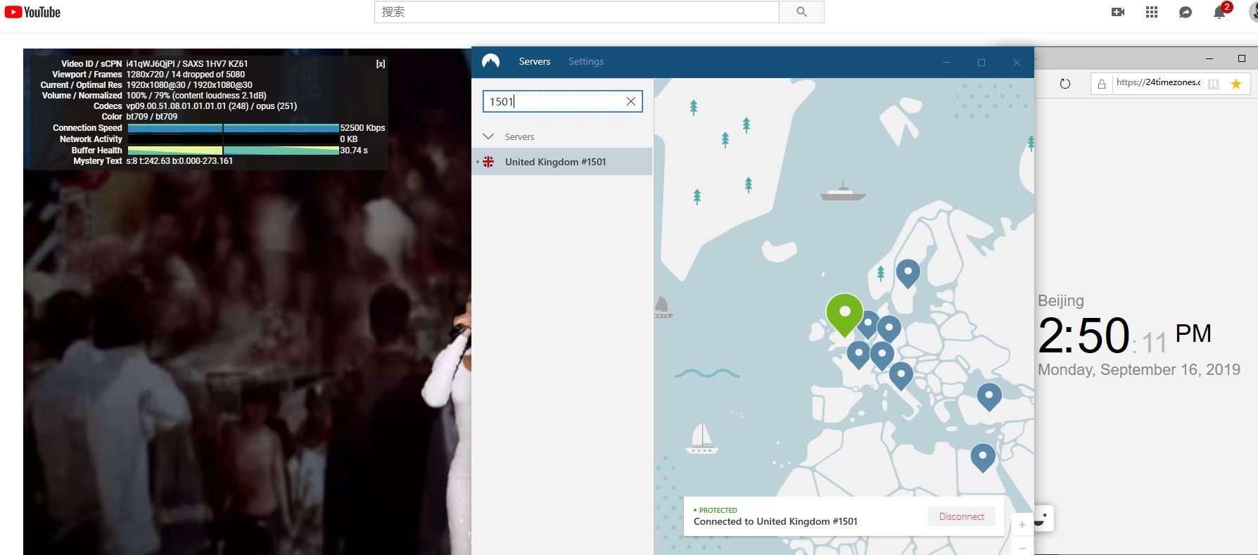 windows NordVPN United Kingdom 1501 服务器 中国翻墙 科学上网 YouTube速度测试-2-20190916