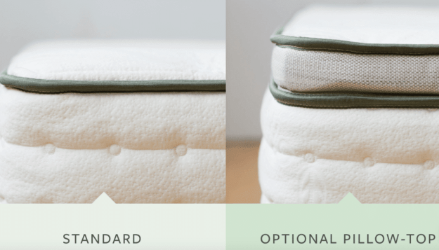 Avocado standard mattress and avocado option pillow-top mattress