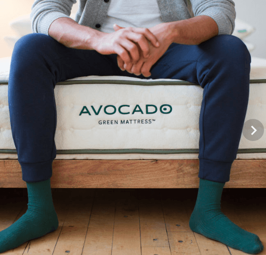 man on avocado mattress