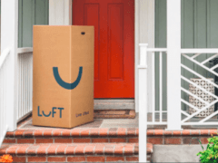 Luft mattress in a delivery box on house front porch