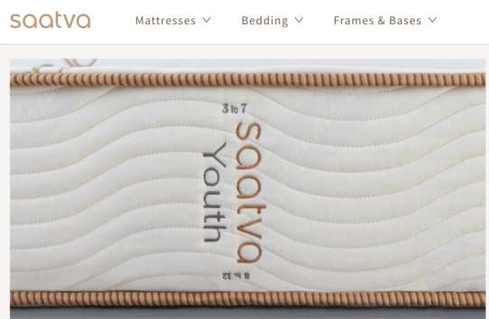Saatva Youth mattress for kids, side view