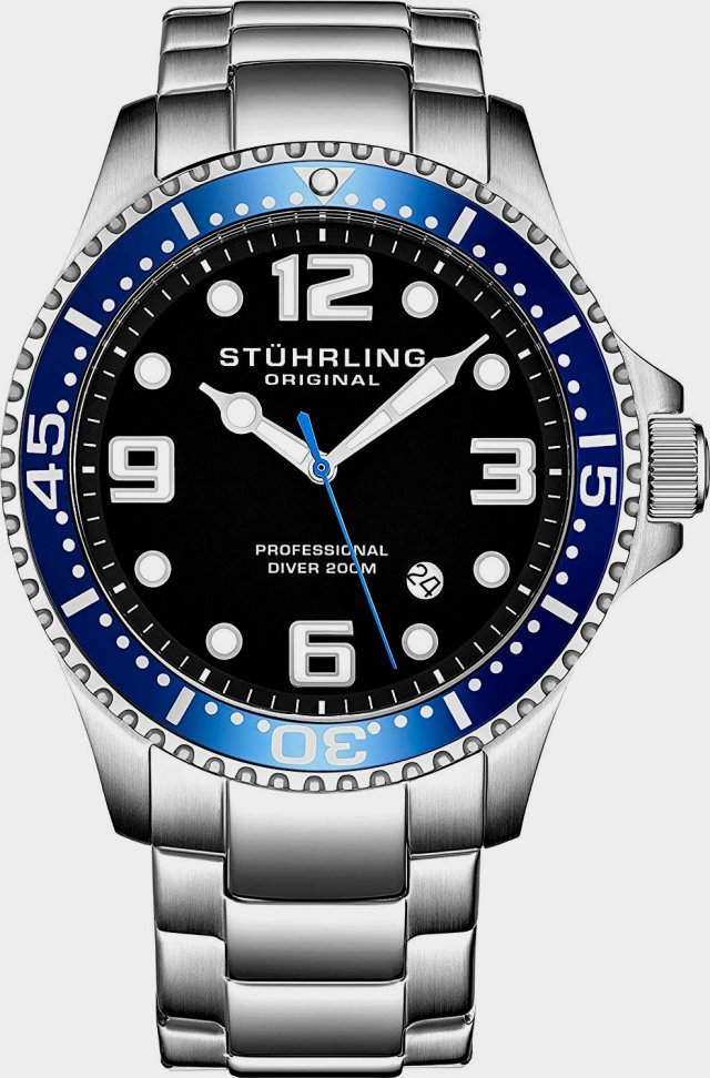 Stuhrling Original Mens Swiss Quartz chrome steel Sports Analog Dive Watch, water-resistant two hundred Meters
