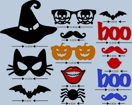 UsaSales, Halloween Masks Photo Booth Props