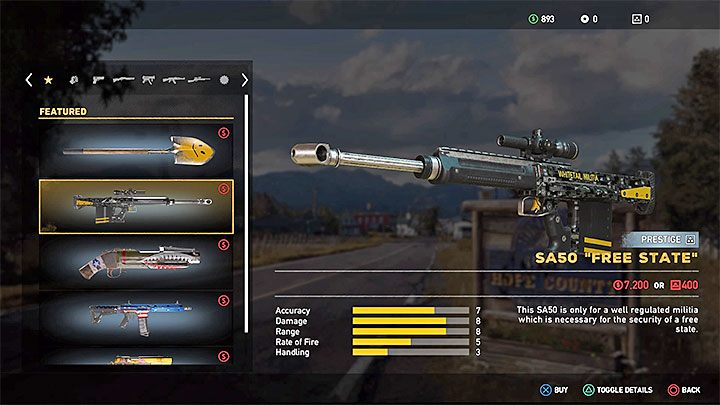 Visit any of the arms dealers (the pistol icon on the world map) if you want to get better weapons - How to get better weapons in Far Cry 5? - FAQ - Far Cry 5 Game Guide