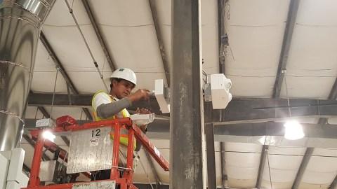 Emergency light installation underway