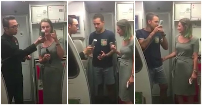 Flight Attendant Wishes Passenger A Happy Birthday But Then Her Boyfriend Makes His Own
