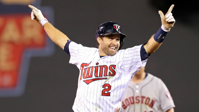 Brian Dozier celebrating after he went yard against the cheatin' ass Astros