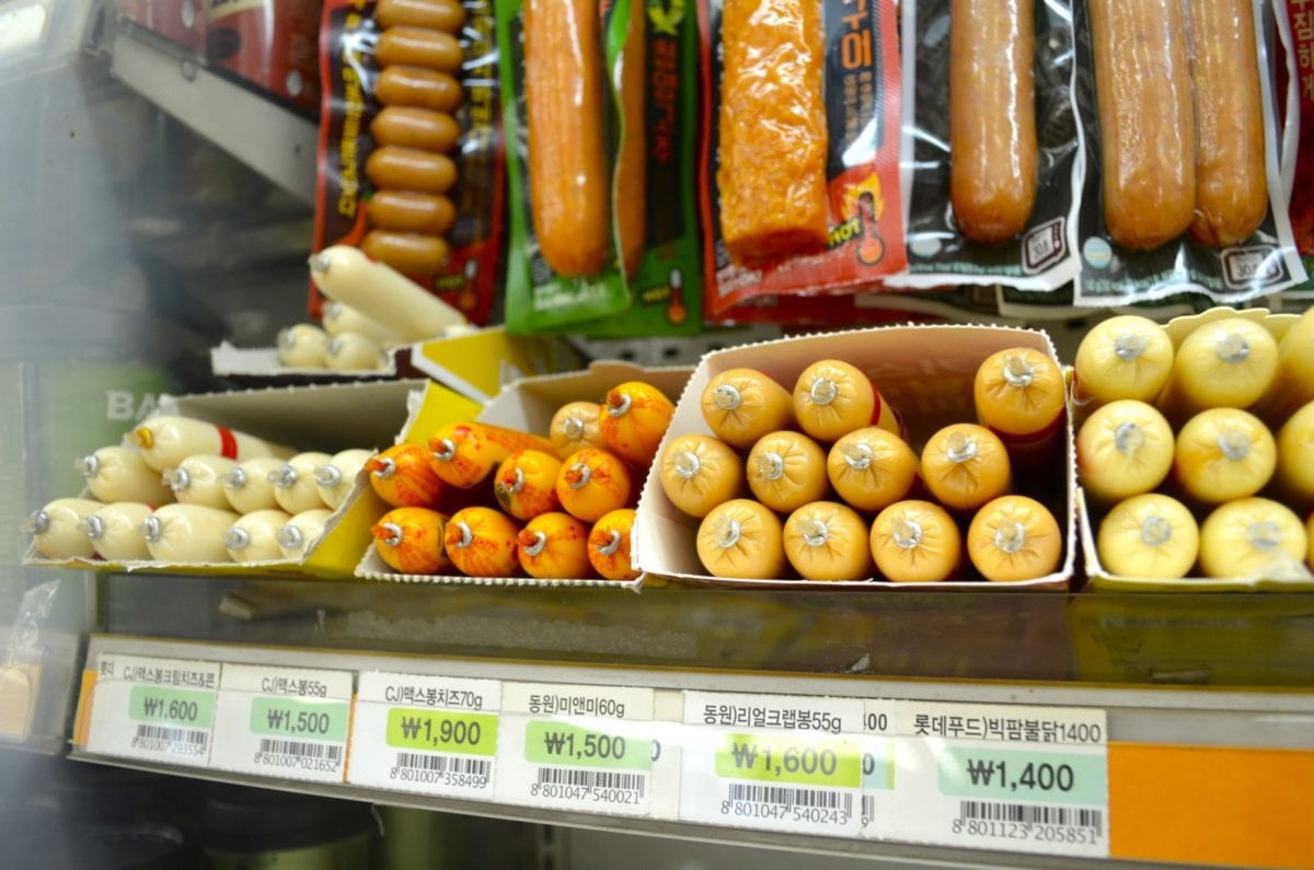 Korean Convenience Stores peel sausages