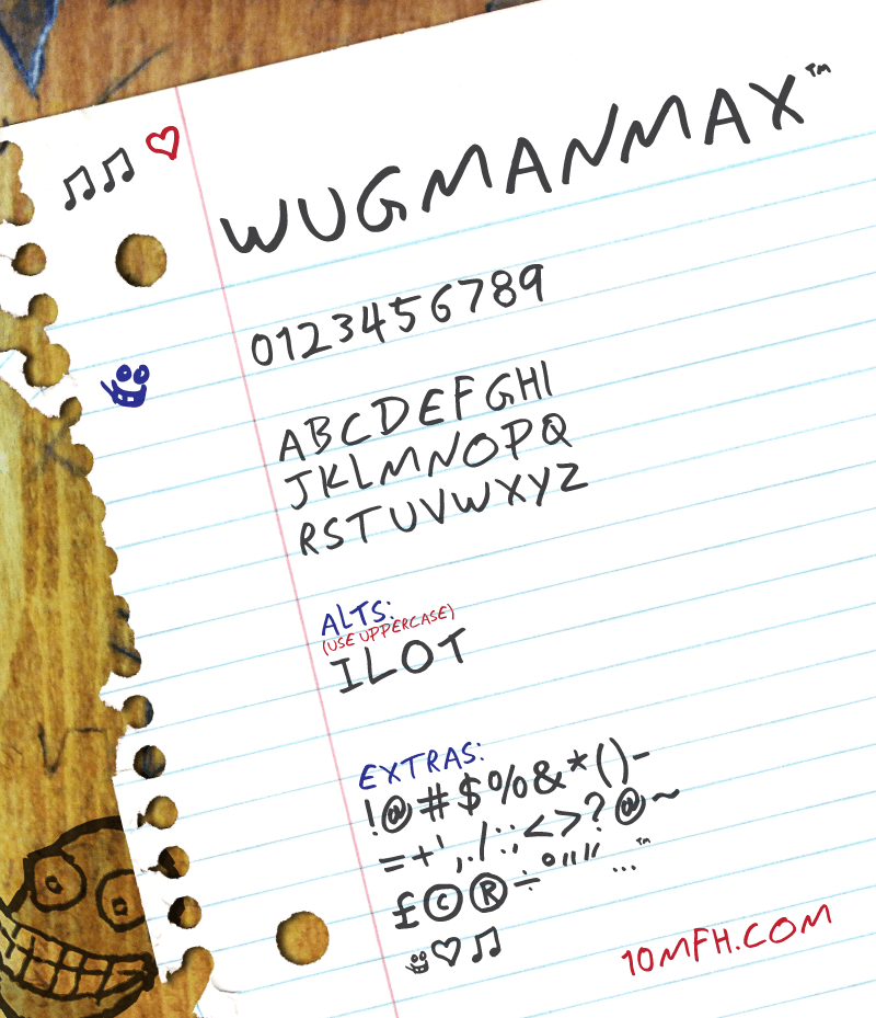 Wugmanmax Regular Is A Handwritten Font That 100 Free To Use While It Might Be OK In Word Processing Programs For Best Results You Will Need Hand