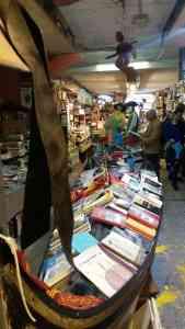 Libreria Acqua Alta gondola with books
