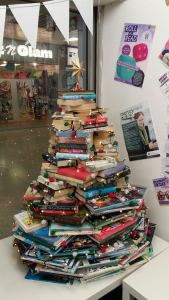 Big Little Library Christmas tree made of books