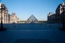 The Pyramid entrance to the Louvre.