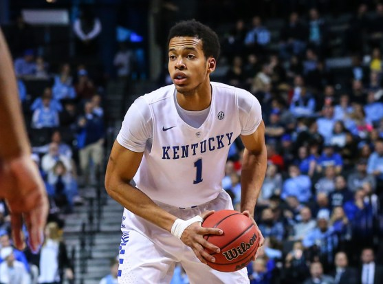19 DEC 2015: Kentucky Wildcats forward Skal Labissiere (1) during the first half of the CBS Sports Classic game between the Kentucky Wildcats and the Ohio State Buckeyes played at the Barclays Center in Brooklyn,NY. (Photo by Rich Graessle/Icon Sportswire)