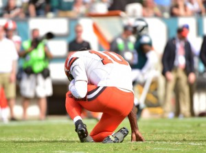 Sep 11, 2016; Philadelphia, PA, USA; Cleveland Browns quarterback Robert Griffin III (10) gathers himself on the ground after injuring his shoulder against the Philadelphia Eagles at Lincoln Financial Field. The Eagles defeated the Browns, 29-10. Mandatory Credit: Eric Hartline-USA TODAY Sports