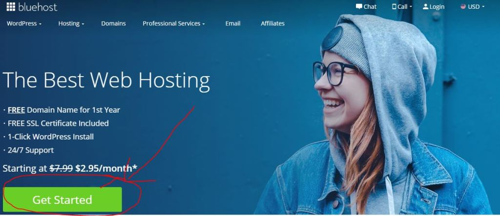 Bluehost homepage sign-up step 1