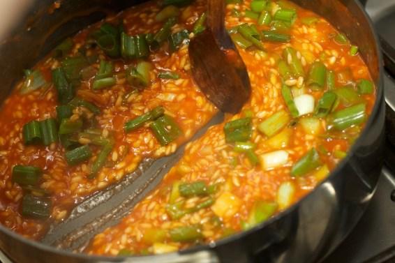 Spinazie risotto met asperges gewikkeld in Seranoham 28