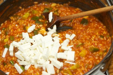 Spinazie risotto met asperges gewikkeld in Seranoham 41