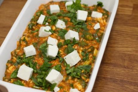 Spinazie risotto met asperges gewikkeld in Seranoham 45