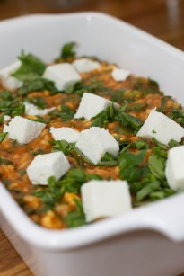 Spinazie risotto met asperges gewikkeld in Seranoham 46