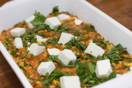 Spinazie risotto met asperges gewikkeld in Seranoham 47